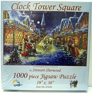 NEW Sealed Clock Tower Square 1000 piece Jigsaw Puzzle 19 x 30 inches, Christmas