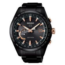New Seiko Astron Solar GPS Black PVD Titanium Men's Watch SSE113