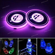 2PCS LED Car Cup Holder Pad Mat Auto Atmosphere Lights Colorful for Alfa Romeo