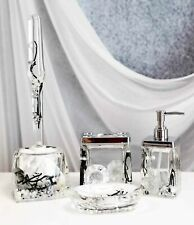 Nautical Silver Pearls Leaves 5 Piece Chic Bathroom Vanity Accessories Gift Set