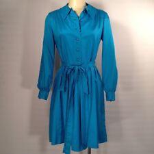 Vintage 60's Blue Silk Lord & Taylor Mod Shirt Dress Size Small