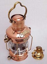 "Maritime Ship Lantern 14"" Brass & Copper Nautical Anchor Boat Light Oil lamp"