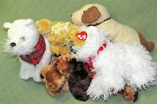 Lot of 5 Ty BEANIE BUDDIES CLASSIC DOGS Puppy Plush Stuffed Animals SKIPPY Lab +
