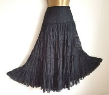 GOTHIC Black Lace Maxi Gypsy Skirt 12 Victorian Romantic Vintage Steampunk