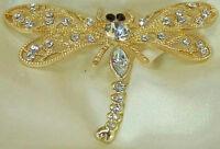 X Pretty Vintage 80's Gold Tone Rhinestone Dragonfly Brooch 283M6