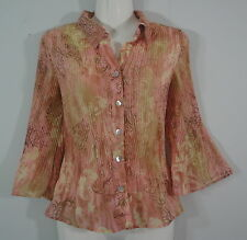 Crinkle Pleat Button Down Shirt Coral Pink Career 3/4 Bell Sleeves Sere Nade PM