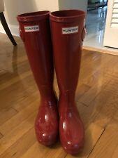 Hunter Womens Military Red Rubber Rain BOOTS Original Tall 6 Patent