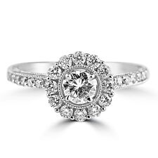 3.00TCW Round Cut Diamond Halo Engagement Ring French Design 14k White Gold Over