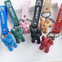 Fashion French Punk Bulldog Keychain Leather Dog Keychains For Women/Men's YAN