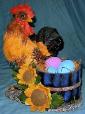 """Wonderful Lifesize Resin Rooster with Egg Crate Decor - 11-1/4"""" Tall"""