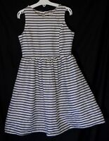 Girls George White Blue Stripe Shimmering Sleeveless Party Dress Age 9-10 Years