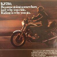 Kawasaki Motorcycle Kz-750 Four Stroke Vtg 1977 Print Ad
