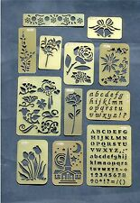 Set of 12 Brass Embossing Stencils with Varied Designs. New