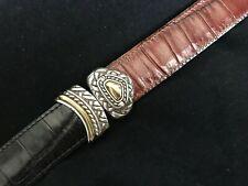"Brighton Black Brown Leather Belt Silver Metal Buckle Hardware Women 30"" M 40210"