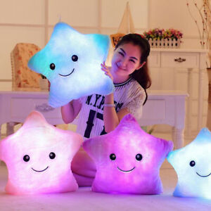 34CM Creative Toy Luminous Pillow Soft Stuffed Plush Glowing Colorful Stars Cush