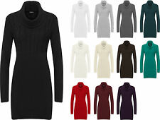 New Womens Plain Cowl Neck Long Sleeve Sweater Top Ladies Knitted Jumper 8 - 14