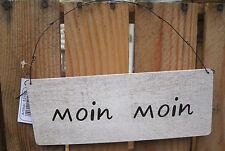 "Deko Schild ""Moin Moin"" Türschild Küste Meer Maritim Strand Vintage Shabby"