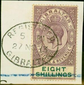 Gibraltar 1912 8s Dull Purple & Green SG34 V.F.U on Large Registered Piece