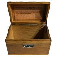 Vintage Recipe File Box Wooden Hinged Top Doved Tailed Sides Weis Manufacturing