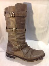 Bronx Brown Mid Calf Leather Boots Size 39