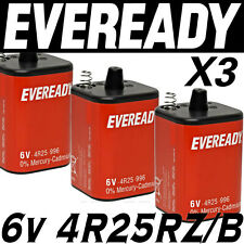 3x EVEREADY 4R25RZ/B 6v PJ996 Torch Lantern Battery 6 Volt 908 996 430 Batteries