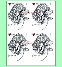 4959a Vintage Rose Forever Rate Imperf Block of Four No Die Cuts