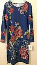 LuLaRoe Large Elegant Debbie Dress Blue Red Roses Silver Embroidered NWT!