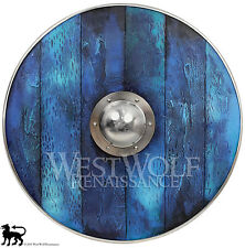 Aged Wood Viking Shield in Oceanic Blue --- sca/larp/norse/Norway/antique/armor