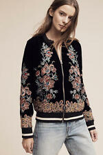 NWT ANTHROPOLOGIE Elevenses Embroidered Velvet Bomber Jacket Black Sz XS $188