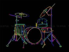 PAINTING ILLUSTRATION COLOURFUL DRUM KIT MUSIC INSTRUMENT PRINT POSTER MP3089A