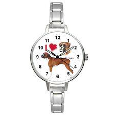 I Heart Boxer Dog Stainless Steel Italian Charm Mens Ladies Wrist Watch BM210