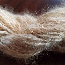 CRAZY Handspun Satin Angora Yarn Natural Fawn 30 yds lace to fingering wt 2 ply
