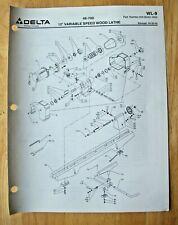 Original Delta 12 Variable Speed Wood Lathe 46 700 Illustrated Parts List Wl 9