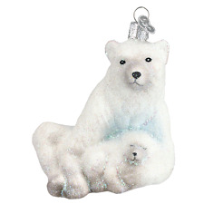 Polar Bear with Cub Old World Christmas Tree Ornament new mouth blown glass