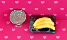 """Dollhouse Miniature Food - Packaged """"Bananas"""" in Plastic Tray 1:12"""
