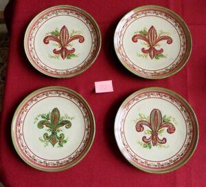 "4 Piece Lot Christmas Fleur De Lis Holiday Artimino Stoneware 9"" Luncheon Plate"