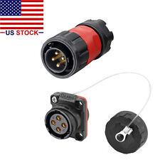 4 Pins Industrial Connector,Male Plug&Female Socket,Waterproof IP67,1/4 Bayonet