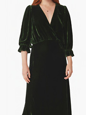 Ghost Gracie Silk Velvet Dress Forest green RRP £245 Size L BNWT