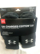 Under Armour UA Charged Cotton 2.0 Socks 13.5k-4y 6 pairs Black Crew NEW