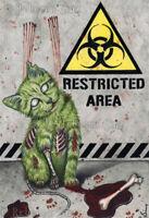 Gothic Fantasy ZOMBIE CAT Art PRINT halloween biohazard blood horror Creepy cute