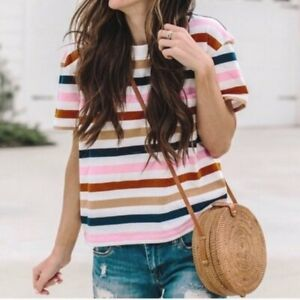 MADEWELL BEATRICE STRIPED CROP SHIRT TOP TEE NWOT M