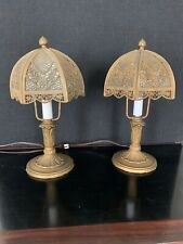 New listing Sweet Pair Of Antique Curved Slag Glass Filigree Boudoir Lamps Circa 1910