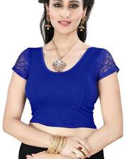 Ready Made Blue Lycra Free Size Designer Sari Saree Choli Top Blouse-GC101