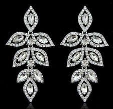 Elegant Females Wedding Party Jewelry Crystal Diamante Leaf Chandelier Earrings