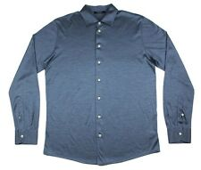 Men's GRAN SASSO Italy Blue 100% Silk L/S Button-Down Shirt 50 M / L NWT $225!