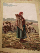 "38"" Vintage Artistic COMPLETED Needlepoint Figural Tapestry The Shepherdess"