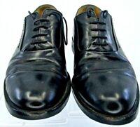 Johnston Murphy Oxford Men 9.5M Black Leather Plain Toe Lace Up Dress Shoe Italy