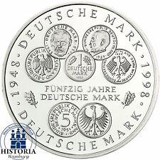 BRD 10 DM 50 Jahre Deutsche Mark 1998 Silber Stempelglanz Münze in Münzkapsel