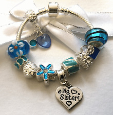 Personalised childrens girls blue silver heart charm bracelet FAST DISPATCH