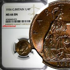 Great Britain George V (1910-1936) 1936 Farthing NGC MS66 BN TOP GRADED KM# 825